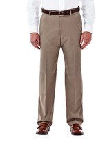 Haggar Cool 18 Stretch Heathered Pant - Classic Fit, Flat Front, Hidden Expandable Waistband