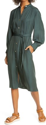 Vince Belted Long Sleeve Shirtdress