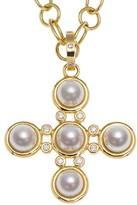Temple St. Clair Small Classic 5MM White Pearl & Diamond Five-Stone Cross Pendant