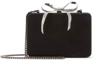 Oscar de la Renta Crystal Bow Satin Clutch