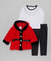 Sweet & Soft Red & Black Faux Fur Hooded Coat - Infant Toddler & Girls