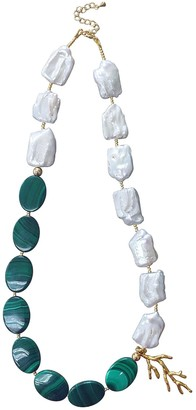 Farra Natural Freshwater Pearls & Malachite Choker Necklace