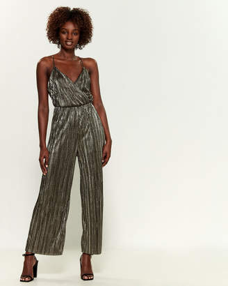 Lush Metallic Geometric Pattern Wide Leg Jumpsuit