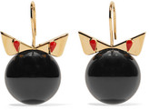 Fendi Crystal Wonder Gold-tone Stone Earrings - Black