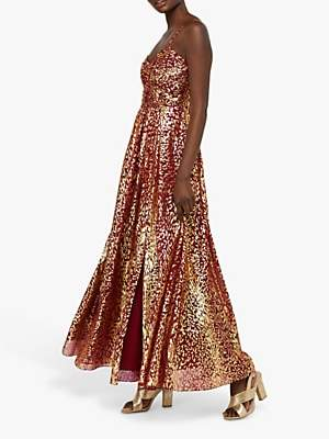 Monsoon Odeya Animal Foil Print Maxi Dress, Red/Gold