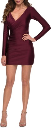 La Femme Surplice Long Sleeve Sheath Dress