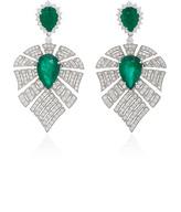 Hueb Labyrinth 18K White Gold Diamond and Emerald Earrings