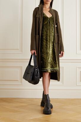R13 - Tie-detailed Silk-trimmed Velvet Dress - Green