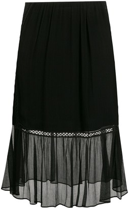McQ Swallow Sheer Embroidered Skirt