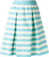 RED Valentino pleat detail striped skirt - women - Silk/Cotton - 44