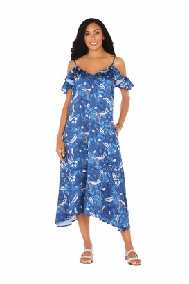 Caribbean Joe Women's Ruffle Cold Shoulder Dress