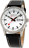 Mondaine A6693030816sbb Unisex Sport Line Leather Strap Watch, Black/white
