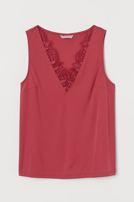 H&M V-neck Top with Lace - Red