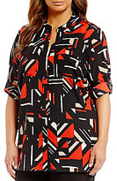 Calvin Klein Plus Roll Tab Printed Blouse