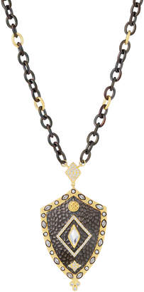Freida Rothman Marquise Stone Hammered Shield Necklace