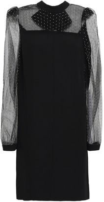 Givenchy Studded Tulle-paneled Crepe Mini Dress