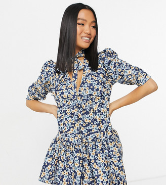 ASOS DESIGN Petite textured tiered mini dress in floral print