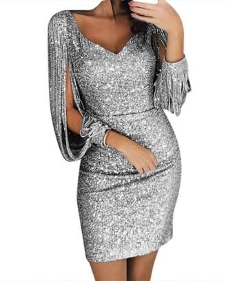 Ihaza Women iHAZA Dresses for Women Sexy Sequined Stitching Shining Club Sheath Long Sleeved Mini Dress Silver