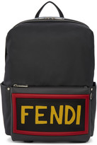 Fendi Grey Nylon and Leather Logo Backpack