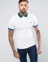 Fred Perry Slim Pique Polo Color Block Trims in White