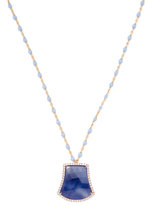 Meira T 14K Rose Gold, Blue Sapphire & 0.20 Total Ct. Diamond Shield Pendant Necklace