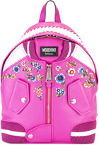 Moschino bomber jacket backpack - women - Cotton/Calf Leather - One Size