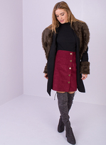 Missy Empire Tabby Black Faux Fur Collar Coat
