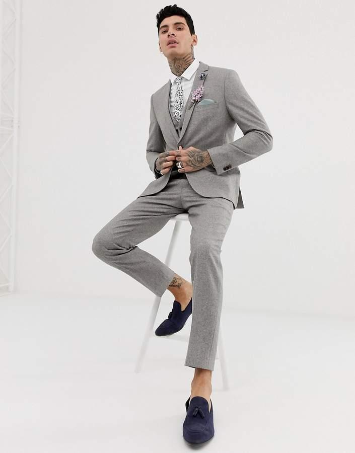 007747d7f4a Harry Brown wedding wool blend slim fit summer tweed suit pants
