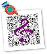3dRose LLC Florene - Music - Print of Red violet Clef On Black n White Notes - Quilt Squares - qs_193194_2