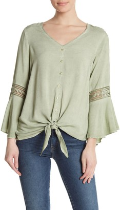 Spense Washed Bell Sleeve Tie Hem Blouse