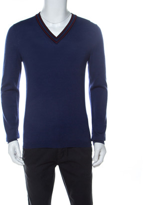 Gucci Blue Wool V-Neck Sweater M