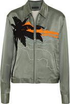 Rag & Bone Roth Oversized Embroidered Satin Bomber Jacket - Green