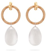 Balenciaga Hoop And Pendant Earrings - Womens - Brown