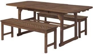 Hewson 3Pc Outdoor Patio Acacia Wood Dining Set