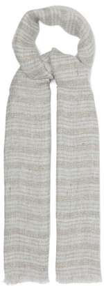 Brunello Cucinelli Striped Linen-blend Scarf - Grey Multi