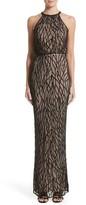 Rachel Gilbert Women's Toriana Beaded Mesh Gown