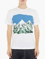White Mountain Print Cotton T-shirt