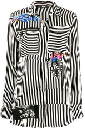 Diesel Striped Patch-Work Shirt