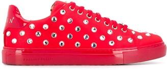 Philipp Plein Crystal Embellished Low-Top Sneakers