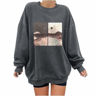 HFStorry Women's Print Sweatshirts Long Sleeve Tshirts Round Neck Tops Print Pullover Crew Neck Jumper Oversized Long Sleeve T-Shirt Pullover Cute Top Letter Print Sweatshirt Dark Gray