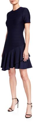 Shoshanna Arista Wide Rib Short-Sleeve Ruffle-Hem Dress