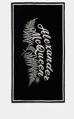Alexander McQueen Fern-Motif Cotton Beach Towel - Black
