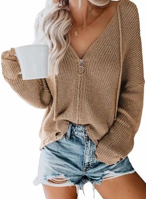 Bdcoco Womens Zip Up V Neck Sweater Hoodie Cardigans Oversized Knit Sweater Sweatshirt