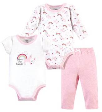 Luvable Friends Baby Girl Bodysuits & Pants, 3pc Outfit Set
