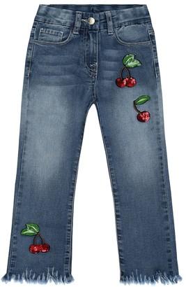 MonnaLisa AppliquAd cotton-blend jeans