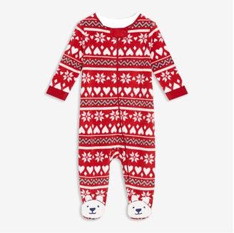 Joe Fresh Baby Girls' Footed Zip-Font Sleeper, Red (Size 3-6)