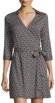 Julie Brown Milo Three-Quarter-Sleeve Wrap Dress, Black Geometric