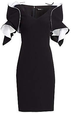 Badgley Mischka Women's Origami-Sleeve Crepe Two-Tone Dress
