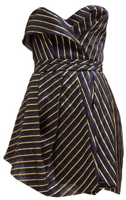 Alexandre Vauthier Strapless Striped Organza Mini Dress - Womens - Navy Multi