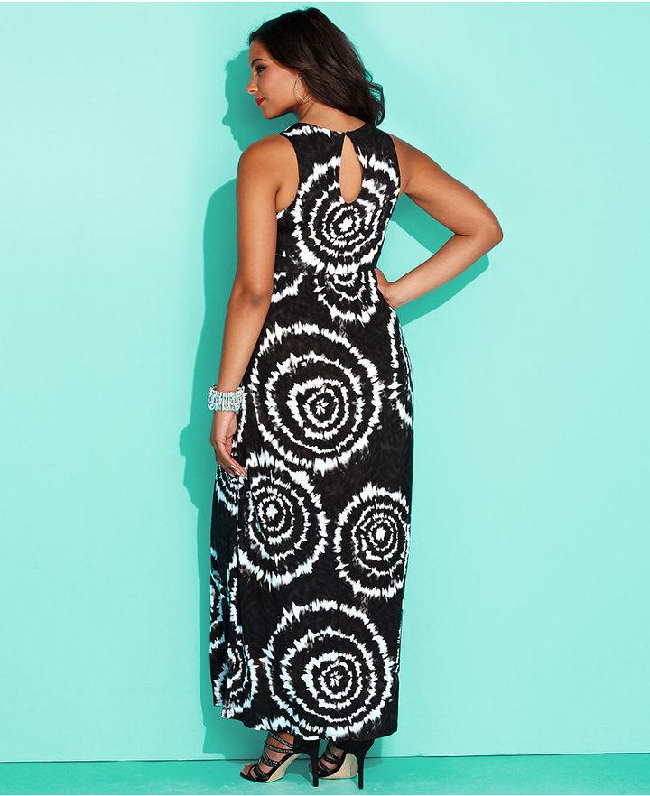 INC International Concepts Plus Size Dress, Sleeveless Tie-Dye Maxi
